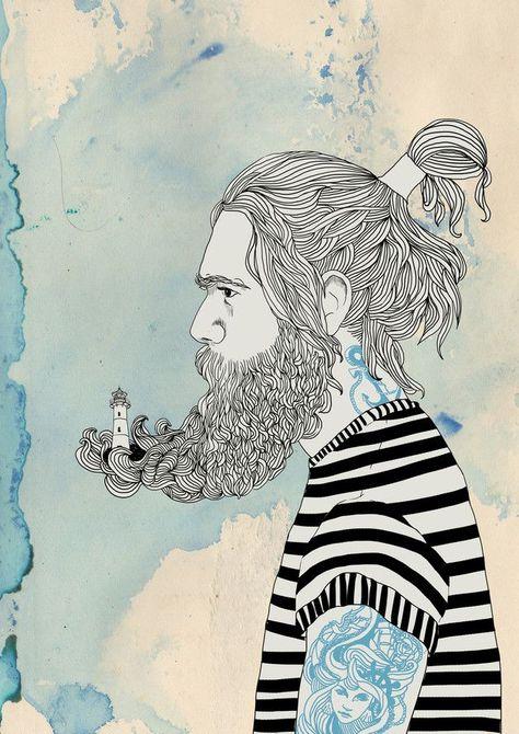 Die Illustration des tattowierten Mannes mit dem Leuchtturm im Bart
