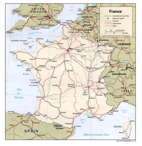 Carte Des Grandes Voies Routieres Et Ferrees De France Carte