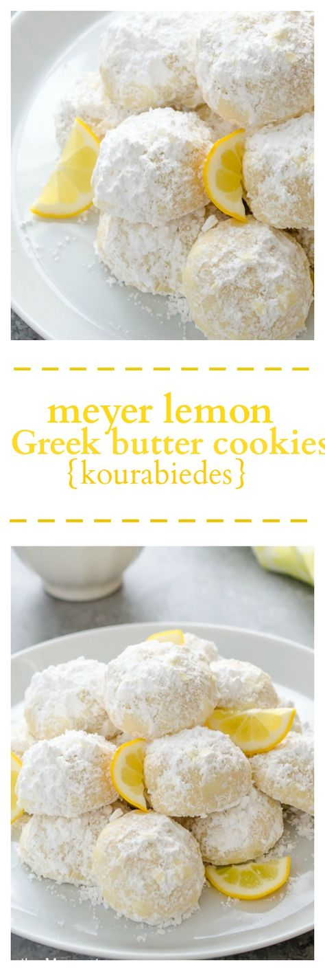 Meyer Lemon Greek Butter Cookies {Kourabiedes} are classic Greek holiday cookies with a refreshing meyer lemon twist! @FlavortheMoment