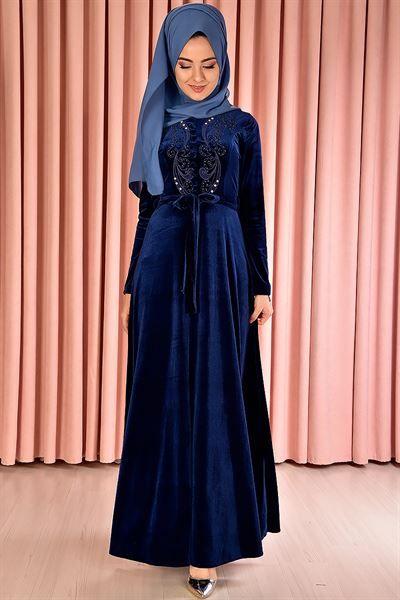 Modamerve Tesettur Kadife Elbise Modelleri Moda Tesettur Giyim Moda Stilleri Kusakli Elbise Cicekli Elbise
