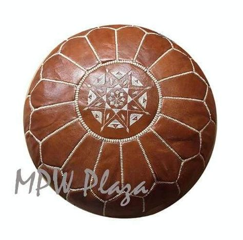 """◆ Crafted exclusively by MPW Plaza®◆ Ships from the USA◆ Premium Moroccan Leather Pouf ◆ Size: 20""""W x 14""""H ◆ Sold already Stuffed No Stuffing Round Leather Ottoman, White Leather Dining Chairs, Round Ottoman, Crochet Pouf, Knitted Pouf, Moroccan Room, Moroccan Theme, Pouf Footstool, Poufs"""