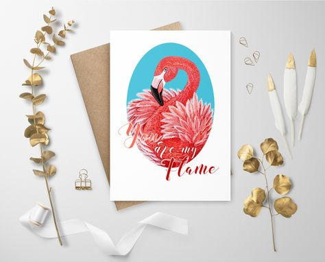 Flamingo greeting card, valentines day card, tropical pink flamingo, text love quotes, girlfriend gift