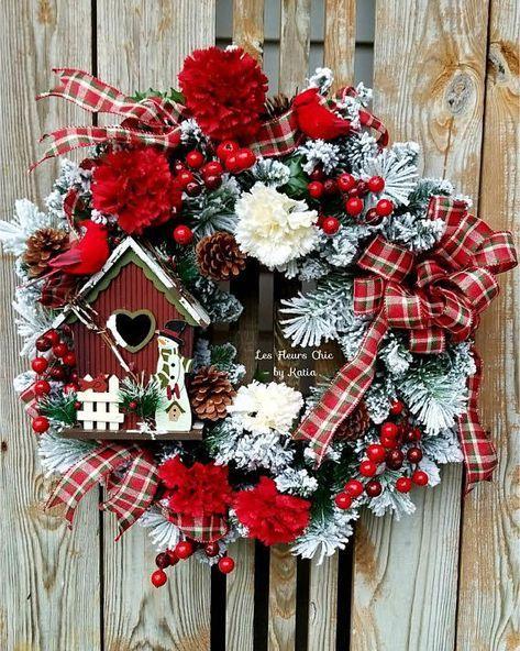 Christmas Wreath For Front Door Red Cardinal Wreath Christmas Birdhouse Wreath Rustic Christmas Wreath Holiday Wreath Winter Wreath Christmas Wreaths Holiday Wreaths Christmas Wreaths For Front Door