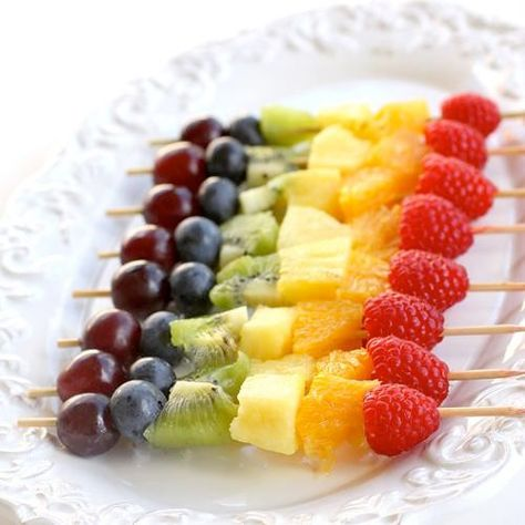 Healthy fruit skewer snack for a 1st birthday party