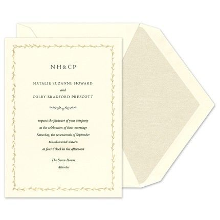 A beautiful day deserves a stunning invitation like this ecru card adorned with a frame that prints in the same ink color as your personalized text.