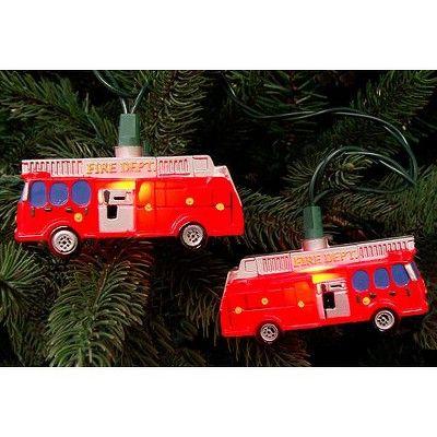 Fire Truck With Christmas Lights 2020 Kurt S. Adler 10 Count Red Fire Department Truck Christmas Lights