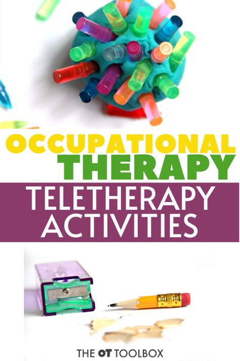Use these occupational therapy telehealth activities for addressing OT at home or online therapy programming Occupational Therapy Activities, Counseling Activities, Autism Activities, Art Therapy Activities, Occupational Therapist, Activities For Kids, Physical Activities, Ot Therapy, Therapy Tools
