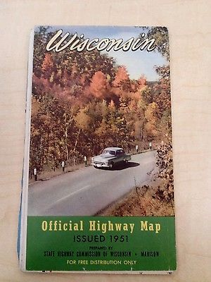 Vintage 1951 Wisconsin Official State Highway Map Highway Map And Wisconsin