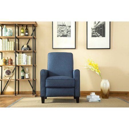 Modern Padded Wingback Recliner Chair Push Back Reclining Mechanism Solid Frame Blue Finish Seating Area Ideal For Bedroom L Recliner Furniture Home Decor
