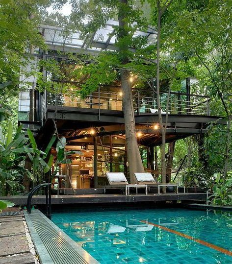 Make an extraordinary impact with these abstract yet dramatic swimming pool designs - Hike n Dip Bangkok, Thai House, Facade Architecture, House Goals, Modern House Design, Tropical House Design, Cool House Designs, Home Fashion, Exterior Design