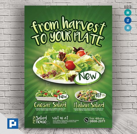 Salad Restaurant Flyer - PSDPixel
