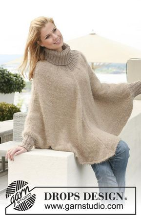 Hand Knitted Turtleneck Poncho Sweater
