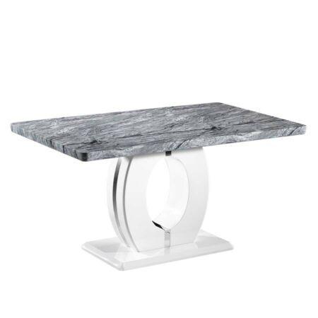 Nepal Grey Marble White High Gloss 1 5m Rectangular Dining Table In 2020 Rectangular Dining Table Grey Marble White Marble