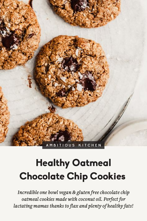 My very favorite healthy oatmeal chocolate chip cookies that just so happen to be vegan and gluten free. Healthy enough to enjoy for breakfast and perfect for lactating mamas or kids thanks to flax, oats and plenty of healthy fats! These cookies are outrageously delicious! #vegan #vegandessert #glutenfree #cookies #healthycookies #healthydessert