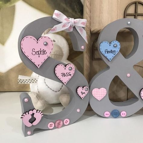 Personalised Christening New Baby Newborn Freestanding Wooden Letter Handmade