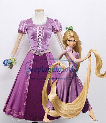 Halloween Princess Rapunzel Dress Tangled Adult Women Cosplay Costume Free Ship