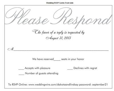 What formalities are required when writing a wedding RSVP response