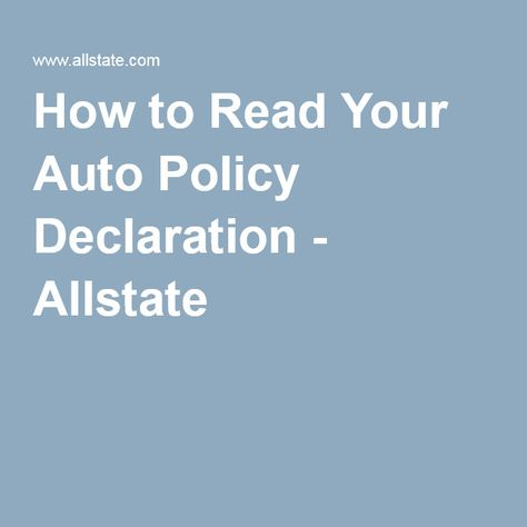 how to read your auto policy declaration page