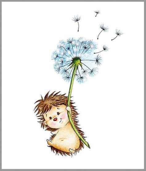 Hedgehog Nursery Art Print Children Wall Decor Kids Wall | Etsy