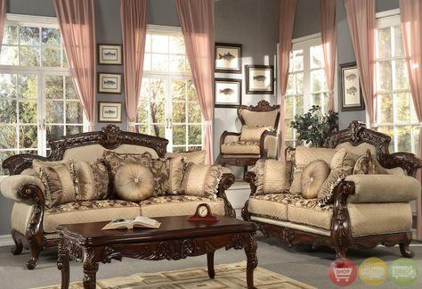 Formal Antique Style Luxury Sofa \ Love Seat Chenille Living Room - deko ideen f amp uuml r wohnzimmer