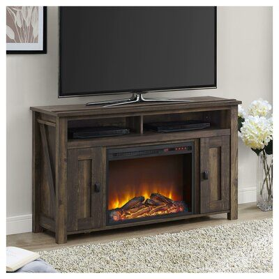 Mistana Whittier Tv Stand For Tvs Up To 50 Inches With Electric Fireplace Included Color Rustic In 2020 Fireplace Tv Stand Electric Fireplace Tv Stand Electric Fireplace
