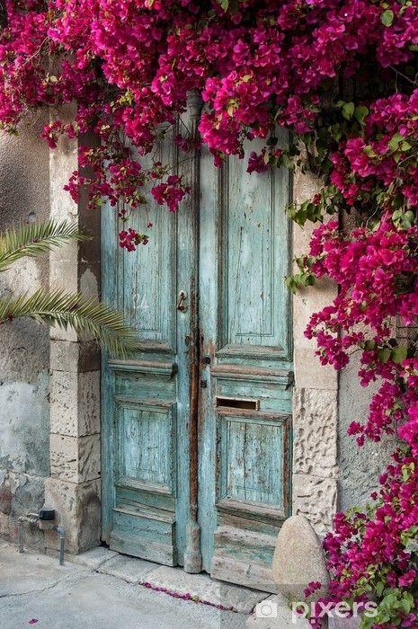 Old Wooden Door With Bougainvillea In Cyprus Wall Mural Pixers We Live To Change Old Wooden Doors Wall Backdrops Wooden Doors