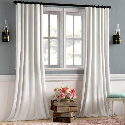 Manwaring Faux Linen Blackout Single Curtain Panel Panel Curtains Curtains White Blackout Curtains