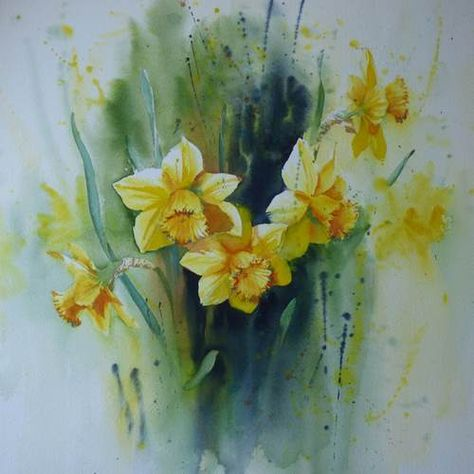 Jonquilles Aquarelle 50 X 50 Cm Tableau Peinture Fleurs