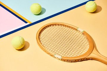 Wooden Tennis Racket And Balls On Background With Blue Lines Sponsored Racket Tennis Wooden Balls Lines Ad In 2020 Tennis Racket Rackets Tennis