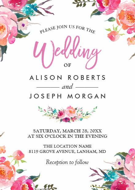 Classy Floral Blossom Watercolor Flowers Wedding Card Floral