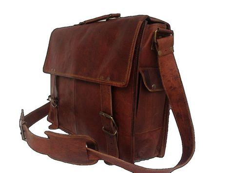 Leather bag Vintage Messenger Shoulder Men Satchel S Laptop School Briefcase Bag