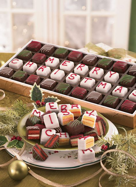 """Swiss Colony """"Merry Christmas"""" Petits Fours at http://www.AmeriMark.com. #holidaytreats #swisscolony #amerimark #petitisour"""