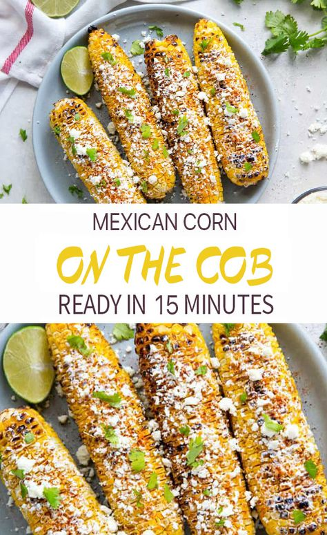 Learn how to make Mexican corn on the cob with this simple grilled corn side dish recipe! Elote corn is a tasty grilled Mexican street corn recipe in 20 minutes. Corn Recipes, Side Dish Recipes, Veggie Recipes, Mexican Food Recipes, Vegetarian Recipes, Cooking Recipes, Recipe For Mexican Corn, Best Mexican Street Corn Recipe, Dinner Recipes