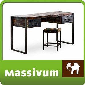 Walter Knoll Bureaustoel.Image Desk 150x60 Antique Wood Metal Designer Industrial Office