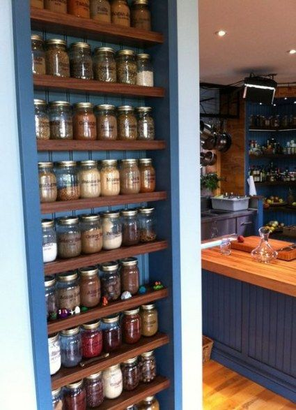 kitchen storage shelves mason jar