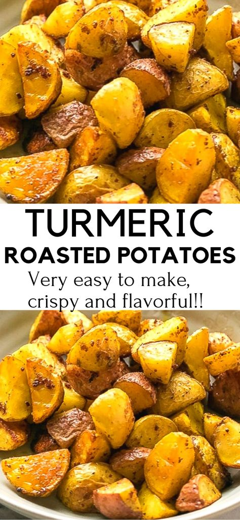 Side dish recipes 375135843962191410 - Turmeric Roasted Potatoes Recipe – very easy to make, crispy and flavorful. These potatoes are great for a side dish or an appetizer with your favorite dipping sauce. Source by cookinglsl Potato Recipes Crockpot, Healthy Potato Recipes, Vegetable Recipes, Diet Recipes, Vegetarian Recipes, Cooking Recipes, Recipes For Potatoes, Easy Roasted Potatoes, Healthy Potatoes