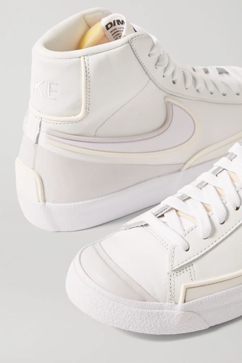 White Nike High Tops, Nike Mid Tops, Leather High Tops, Leather And Lace, White Sneakers, High Top Sneakers, Blazer Fashion, Sneakers Fashion, Nike Shoes