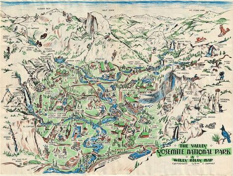 1946 Barnes Pictorial Map of the Yosemite National Park ...