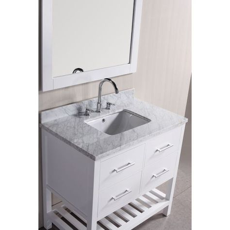 Belvedere 30-inch White Marble Bathroom Vanity with Mirror and faucet with 2 soft-close drawers and storage shelf  $720  www.overstock.com