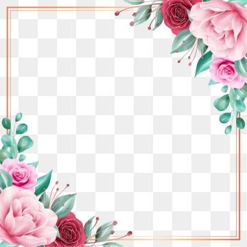 Square Floral Frame With Gold Border For Wedding Or Greeting Card Floral Watercolor Garden Png Transparent Clipart Image And Psd File For Free Download Pink Watercolor Flower Flower Clipart Rose Gold