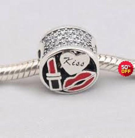 Glamour Kiss Red Enamel /& CZ Sterling Silver Charm fit European Bracelet Women