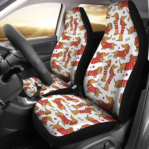 Pleasant Brown Dachshund Happy Car Seat Covers Set Of 2 Brown Gamerscity Chair Design For Home Gamerscityorg