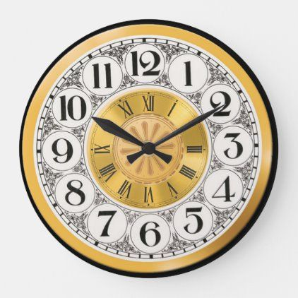 Watch Face Gold Silver Roman Modern Numeral Deco Large Clock