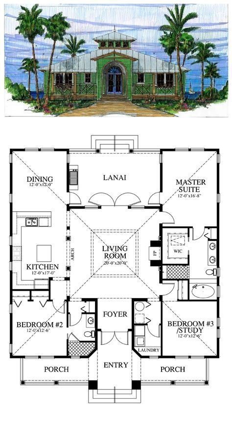 Florida Cracker House Plan Chp 39722 Beach House Plans Best House Plans Cracker House