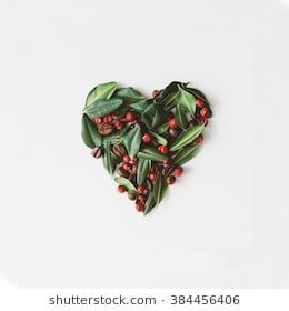 Heart Symbol Made Of Leaves Berries And Coffee Beans Broken In Half Flower Flat Lay Flowers And Leaves Beautiful Art