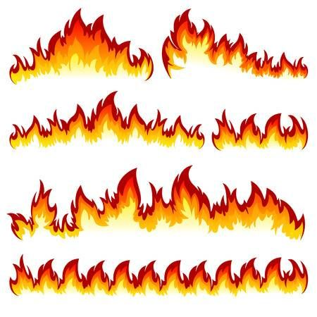 Flames Of Different Shapes On A White Background Drawing Flames Fire Art Fire Drawing