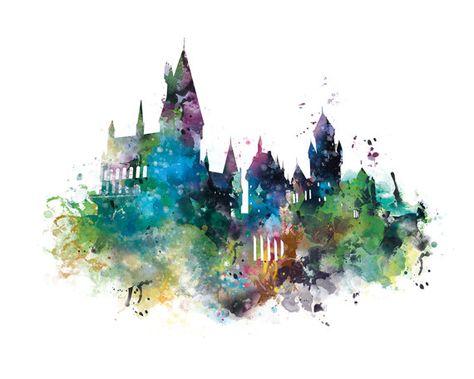 Hogwarts Castle Art Print Watercolor Hogwarts Poster By Monnprint