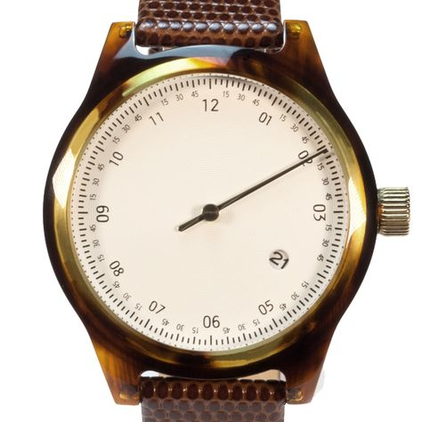 Minuteman One Hand watch in tortoise with brown lizard print leather strap by squarestreet. Available at Dezeenwatchstore.com #watches