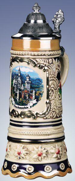 Edelweiss Musical Neuschwanstein German Beer Stein - Authentic Beer Steins from Germany -