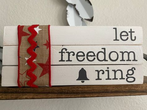 Wood Faux Books • Let Freedom Ring • Tiered Tray Displays • Farmhouse Decor • Celebrate America